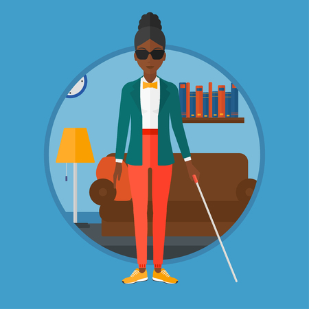 An african-american blind woman in dark glasses standing with walking stick. Young woman with cane standing in the living room. Vector flat design illustration in the circle isolated on background.