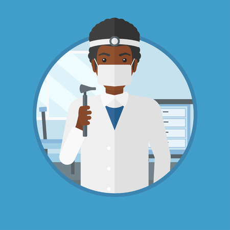 otolaryngologist: An african ear nose throat doctor standing in the medical office. Doctor with tools used for examination of ear, nose, throat. Vector flat design illustration in the circle isolated on background. Illustration