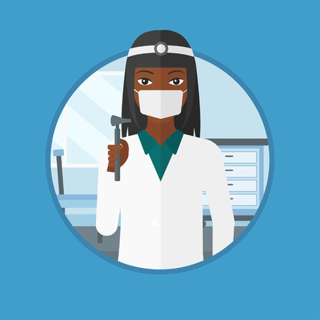An african ear nose throat doctor standing in the medical office. Doctor with tools used for examination of ear, nose, throat. Vector flat design illustration in the circle isolated on background. Illustration