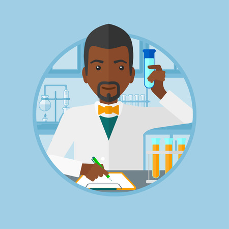 taking notes: An african-american laboratory assistant taking some notes. Laboratory assistant working with a test tube at the laboratory. Vector flat design illustration in the circle isolated on background.