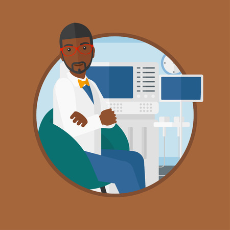 An african-american ultrasound doctor sitting with arms crossed. Doctor sitting near modern ultrasound equipment at medical office. Vector flat design illustration in the circle isolated on background