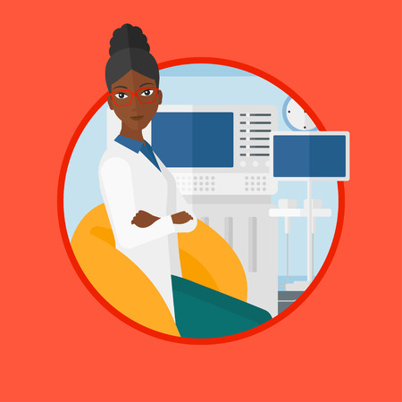 medical scanner: An african-american ultrasound doctor sitting with arms crossed. Doctor sitting near modern ultrasound equipment at medical office. Vector flat design illustration in the circle isolated on background