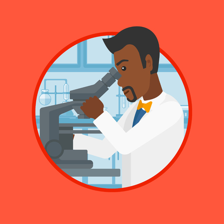 An african-american laboratory assistant working with microscope at the laboratory. Scientist using a microscope in a laboratory. Vector flat design illustration in the circle isolated on background. Illustration