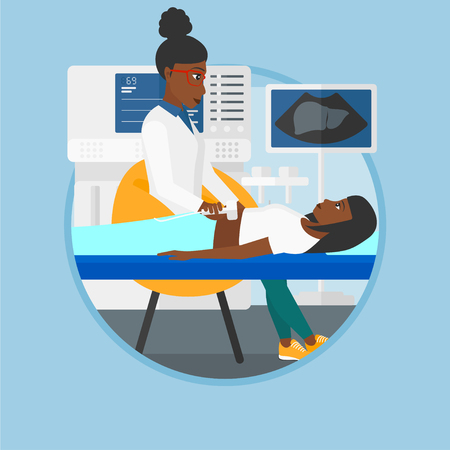 medical scanner: An african-american doctor examining internal organs of a patient on the ultrasound. Doctor working on modern ultrasound equipment. Vector flat design illustration in the circle isolated on background