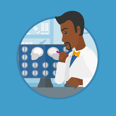 mri head: An african-american doctor looking at magnetic resonance images of the brain on a computer screen. Doctor analyzing MRI scan. Vector flat design illustration in the circle isolated on background. Illustration