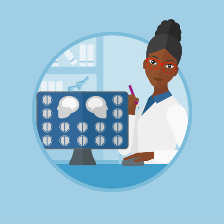 An african-american doctor looking at magnetic resonance images of the brain on a computer screen. Doctor analyzing MRI scan. Vector flat design illustration in the circle isolated on background. Illustration