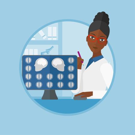 resonancia magnética: Un médico estadounidense, mirando en imágenes de resonancia magnética del cerebro en una pantalla de ordenador. Doctor que analiza imagen de resonancia magnética. Vector ilustración de diseño plano en el círculo aislado en el fondo.