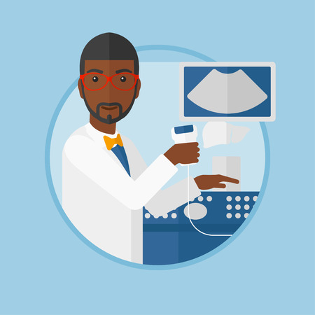 medical scanner: An african-american doctor with ultrasound scanner in the hands. Male doctor working on ultrasound equipment at medical office. Vector flat design illustration in the circle isolated on background. Illustration