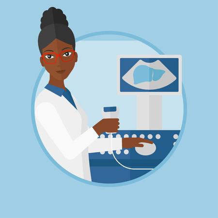 afro-americanos médico sentado con escáner de ultrasonido en las manos. Doctor que trabaja en el equipo de ultrasonido en la oficina médica moderna. Vector ilustración de diseño plano en el círculo aislado en el fondo.