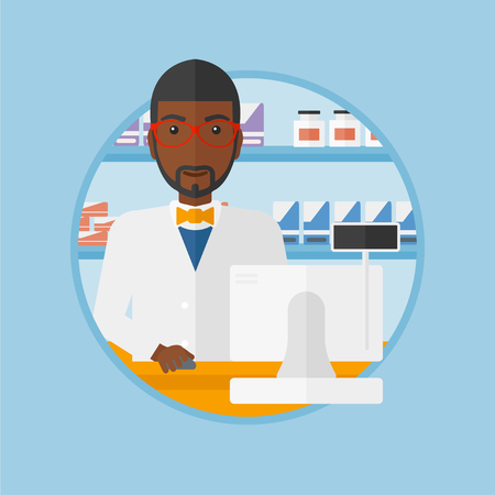 dispensary: An african-american pharmacist in medical gown standing at pharmacy counter with cash machine. Pharmacist working in the drugstore. Vector flat design illustration in the circle isolated on background