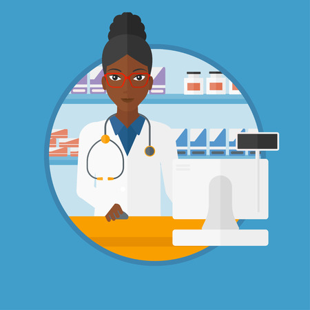 druggist: An african-american pharmacist in medical gown standing at pharmacy counter with cash machine. Pharmacist working in the drugstore. Vector flat design illustration in the circle isolated on background