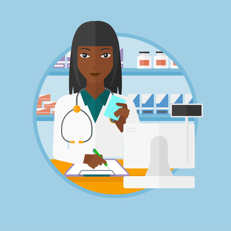 dispensary: An african-american pharmacist writing on clipboard and holding prescription in hand. Pharmacist standing at pharmacy counter. Vector flat design illustration in the circle isolated on background.