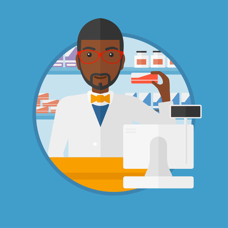 An african-american young pharmacist standing at the counter and showing some medicine. Male pharmacist holding a box of pills. Vector flat design illustration in the circle isolated on background. Çizim