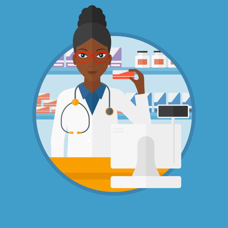 An african-american young pharmacist standing at the counter and showing some medicine. Female pharmacist holding a box of pills. Vector flat design illustration in the circle isolated on background.