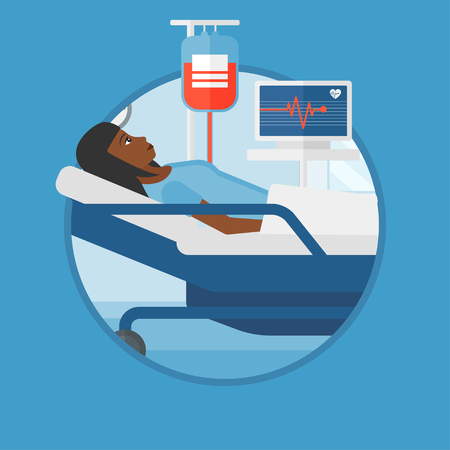 blood transfusion: An african woman lying in bed at hospital ward. Patient with heart rate monitor and equipment for blood transfusion in medical room.Vector flat design illustration in the circle isolated on background Illustration
