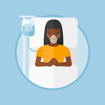 reanimation: An african-american woman lying in hospital bed with oxygen mask. Woman during medical procedure with drop counter at medical room. Vector flat design illustration in the circle isolated on background Illustration