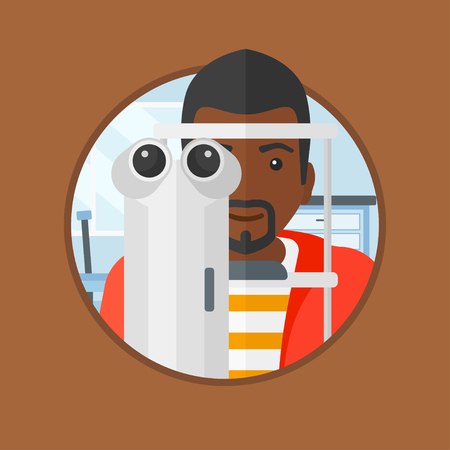 oculist: An african-american man during an eye examination. Man visiting optometrist. Man undergoing medical examination at the oculist. Vector flat design illustration in the circle isolated on background.