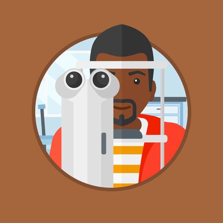 oculist: Un hombre afroamericano durante un examen ocular. Hombre que visita a un optometrista. El hombre de someterse a examen médico en el oculista. Vector de diseño plano de la ilustración en el círculo aislado en el fondo.
