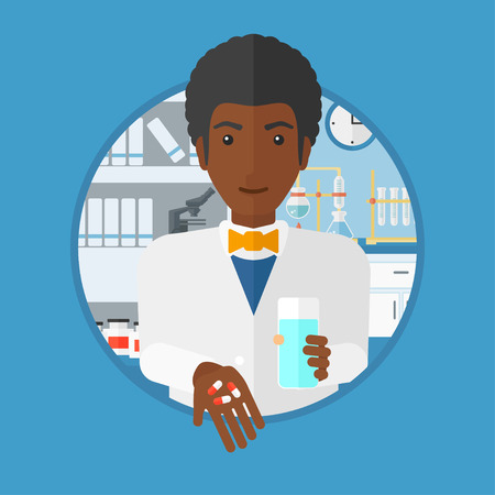 An african-american male pharmacist standing with a glass of water and pills in hands in the laboratory. Pharmacist giving pills. Vector flat design illustration in the circle isolated on background. Illustration
