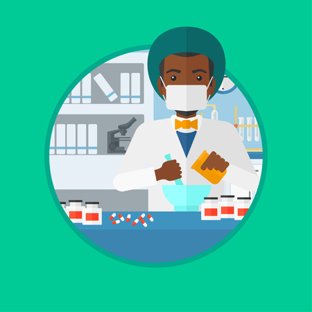 mortar and pestle medicine: An african-american male pharmacist using mortar and pestle for preparing medicine in the laboratory. Pharmacist mixing medicine. Vector flat design illustration in the circle isolated on background.