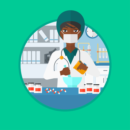An african-american female pharmacist using mortar and pestle for preparing medicine in the laboratory. Pharmacist mixing medicine. Vector flat design illustration in the circle isolated on background
