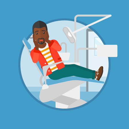 frightful: An african-american frightened patient at dentist office. Scared young man in dental clinic. Afraid man sitting in dental chair. Vector flat design illustration in the circle isolated on background.