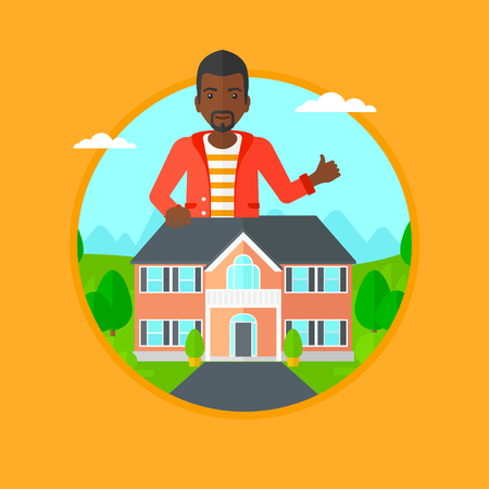 estate agent: An african-american man standing behind the house and showing thumb up. Real estate agent offering a house. Man giving thumb up. Vector flat design illustration in the circle isolated on background.