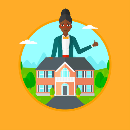 African-american woman standing behind the house and showing thumb up. Real estate agent offering the house. Woman giving thumb up. Vector flat design illustration in the circle isolated on background
