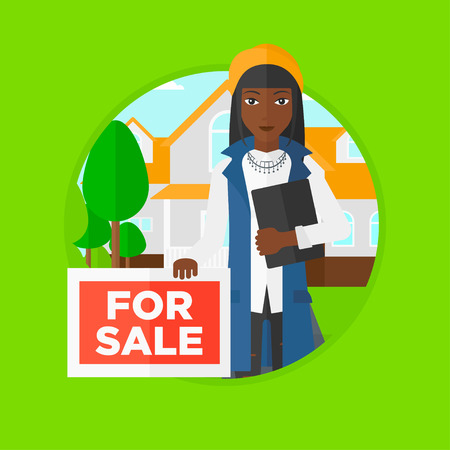 An african real estate agent offering a house. Broker with placard for sale and documents in hands standing in front of the house. Vector flat design illustration in the circle isolated on background.