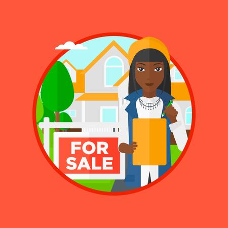 Un agent immobilier femme afro-américaine de signer un contrat. Agent immobilier debout devant la maison avec placard à vendre. Vector design plat illustration dans le cercle isolé sur fond. Vecteurs