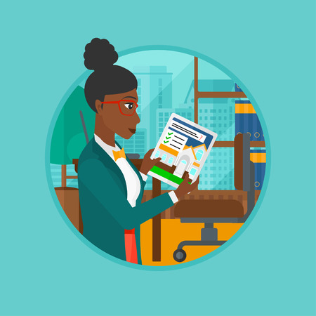 home owner: An african woman looking at house on a digital tablet screen. Woman standing in office and looking for house on tablet computer. Vector flat design illustration in the circle isolated on background.