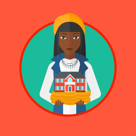 hands holding house: An african-american woman holding house model in hands on the background of sky. Young female real estate agent with house model. Vector flat design illustration in the circle isolated on background. Illustration