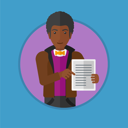 An african-american real estate agent holding house contract or mortgage application form. Young man showing ownership documents. Vector flat design illustration in the circle isolated on background. Illustration