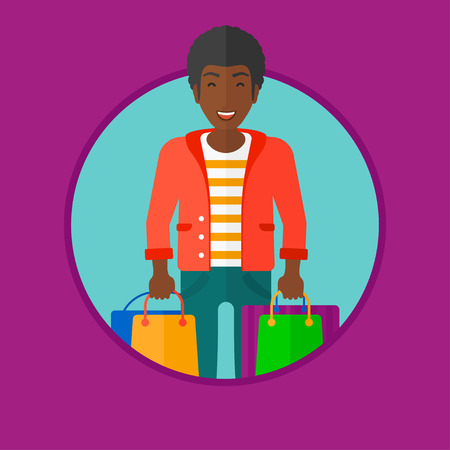 consumer goods: An african-american cheerful man holding shopping bags. Happy young man carrying shopping bags. Man with a lot of shopping bags. Vector flat design illustration in the circle isolated on background.