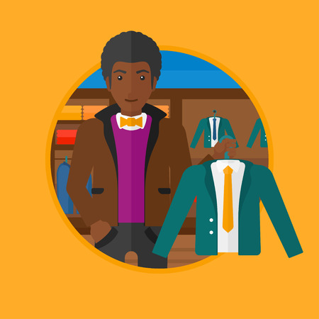 An african-american young man holding hanger with suit jacket and shirt at clothing store. Shop assistant offering suit jacket. Vector flat design illustration in the circle isolated on background.
