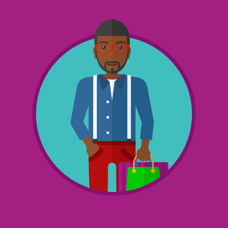 consumer goods: An african-american smiling man holding shopping bags. Happy young man carrying shopping bags. Man with a lot of shopping bags. Vector flat design illustration in the circle isolated on background.