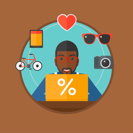 An african-american man using laptop and some images of goods around him. Man doing online shopping. Man buying on internet. Vector flat design illustration in the circle isolated on background.