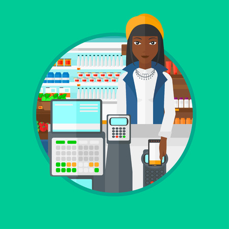 supermarket checkout: African-american woman paying wireless with her smartphone at the supermarket checkout . Customer making payment with smartphone. Vector flat design illustration in the circle isolated on background.