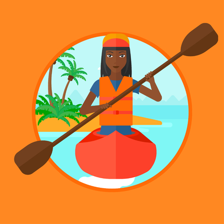 An african sports woman riding in a kayak in the sea. Woman traveling by kayak. Young kayaker paddling. Woman paddling a canoe. Vector flat design illustration in the circle isolated on background. Illustration