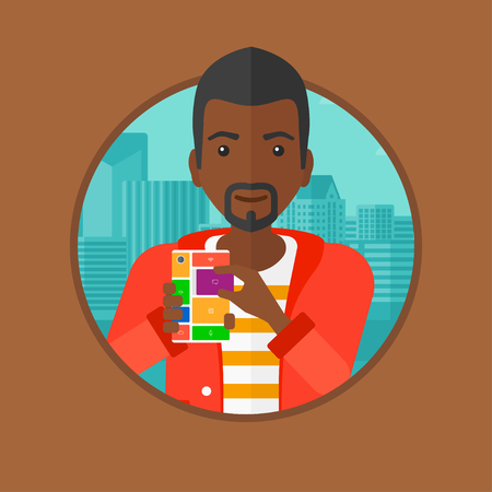 repurpose: An african-american man holding modular phone. Young man with modular phone standing on a city background. Man using modular phone. Vector flat design illustration in the circle isolated on background Illustration