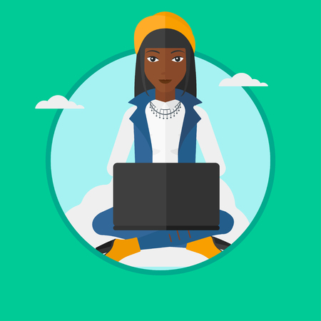 An african woman sitting on a cloud with a laptop on her knees. Woman using cloud computing technology. Cloud computing concept. Vector flat design illustration in the circle isolated on background.