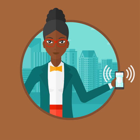 vibrating: An african-american woman holding ringing mobile phone on a city background. Young smiling woman answering a phone call. Vector flat design illustration in the circle isolated on background.