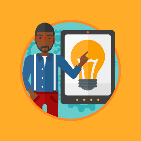 An african-american young man pointing at a big tablet computer. Man standing near tablet computer with a light bulb on a screen. Vector flat design illustration in the circle isolated on background.