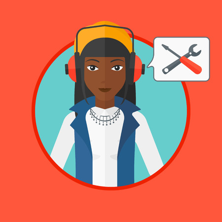 technical assistant: An african-american operator of technical support wearing headphone set. Operator and speech square with screwdriver and wrench. Vector flat design illustration in the circle isolated on background. Illustration