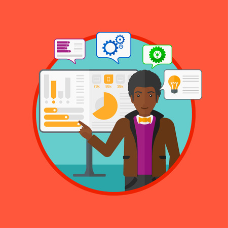 african business man: An african businessman pointing at charts on a board during business presentation. Man giving a business presentation. Business presentation in progress. Vector flat design illustration in the circle.