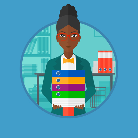 An african woman standing with pile of folders in office. Office worker holding folders. Businesswoman carrying stack of folders. Vector flat design illustration in the circle isolated on background. Çizim