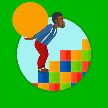 uphill: An african-american tired man rising up on the colored cubes and carrying a big stone on his back. Man with huge concrete ball. Vector flat design illustration in the circle isolated on background. Illustration