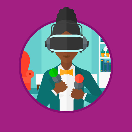 move controller: African-american woman wearing virtual reality headset and holding motion controllers in hands. Woman playing video games at home. Vector flat design illustration in the circle isolated on background. Illustration
