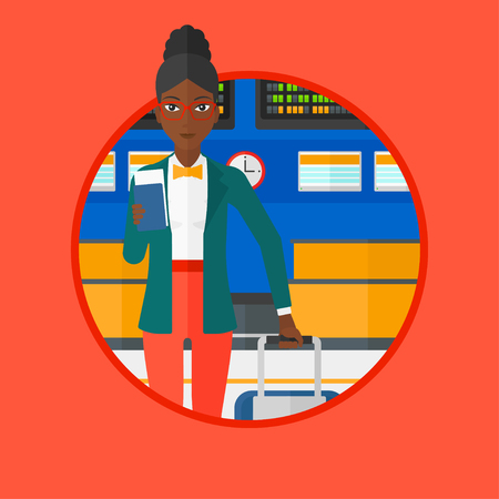 An african-american woman holding passport with ticket at the airport. Woman standing at the airport in front of departure board. Vector flat design illustration in the circle isolated on background. Illustration
