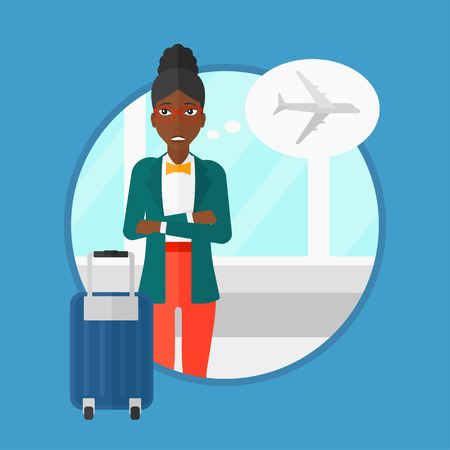 terrified: An african-american young woman frightened by future flight. Woman standing at the airport and suffering from fear of flying. Vector flat design illustration in the circle isolated on background.